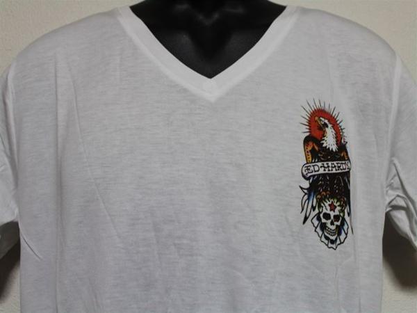 エドハーディー ED HARDY メンズ半袖Tシャツ Mサイズ ホワイト MV028 新品_画像2