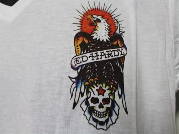 エドハーディー ED HARDY メンズ半袖Tシャツ Mサイズ ホワイト MV028 新品_画像3