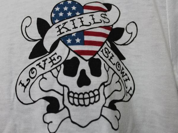 エドハーディー ED HARDY メンズ半袖Tシャツ Lサイズ ホワイト US052 新品_画像3