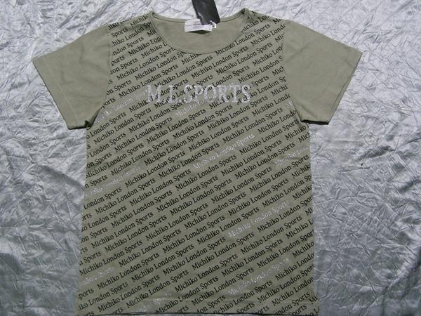 ミチコロンドン MICHIKO LONDON レディース半袖Tシャツ カーキ Mサイズ NO3 新品_画像1