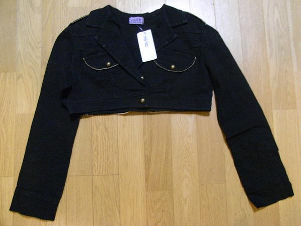 イタリア製 レディースショート丈ジャケット ブラック Sサイズ 新品_画像1