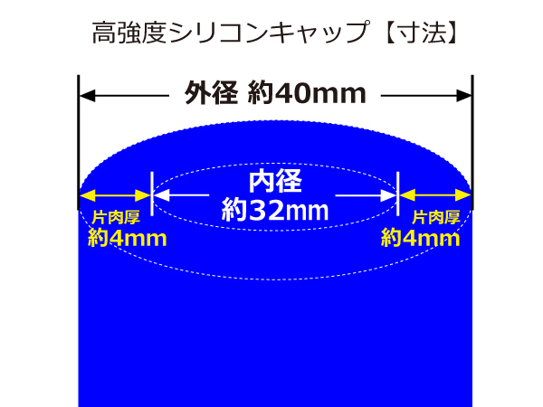高強度 シリコン キャップ 内径 32Φ 2個1セット 青色 ロゴマーク無し インタークーラー ターボ ライン等 のカスタム_画像3