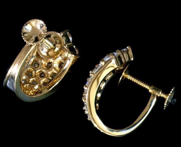 B0482【ハニカム】上質ダイヤモンド2.38ct 最高級18金無垢セレブリティイヤリング 重さ9.0g 幅16.8×10.5mm_画像2