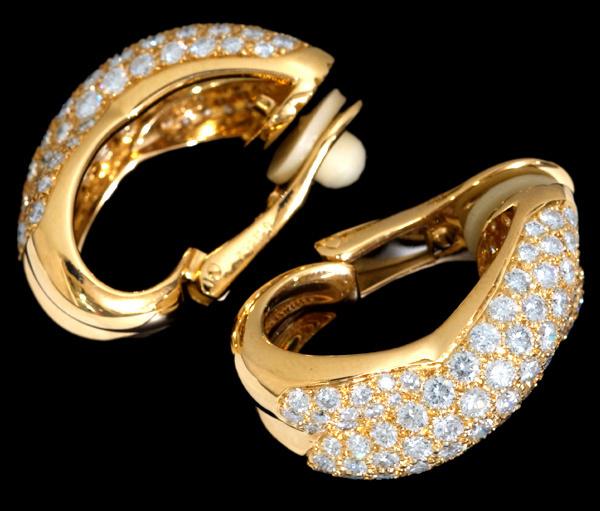 B7008【Cartier】カルティエ 絶品ダイヤモンド 最高級18金無垢セレブリティイヤリング 重さ20.6g 幅26.0×11.5mm_画像3