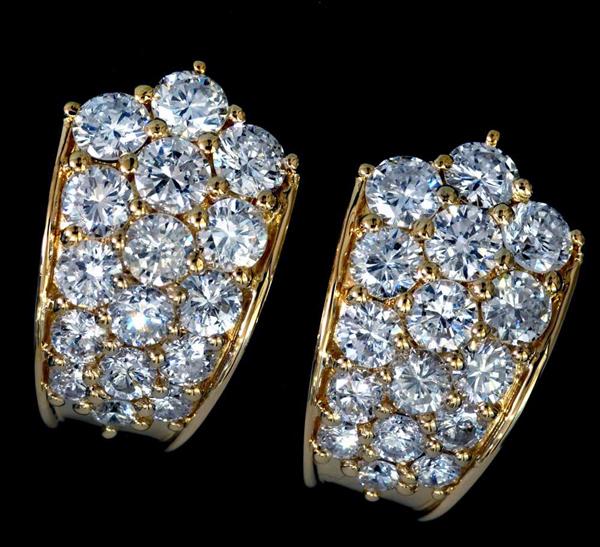 B0482【ハニカム】上質ダイヤモンド2.38ct 最高級18金無垢セレブリティイヤリング 重さ9.0g 幅16.8×10.5mm_画像1