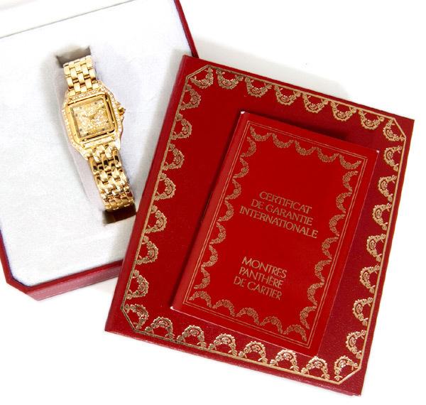 C5087【Cartier】カルティエ 純正ダイヤ・サファイア 最高級18金無垢セレブリティレディQZ 腕周り16.5cm 重さ70.0g ケース幅22.0mm_画像4