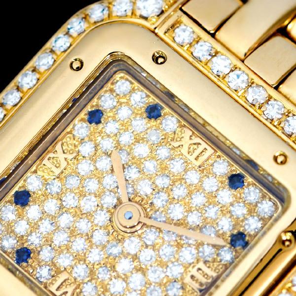 C5087【Cartier】カルティエ 純正ダイヤ・サファイア 最高級18金無垢セレブリティレディQZ 腕周り16.5cm 重さ70.0g ケース幅22.0mm_画像1