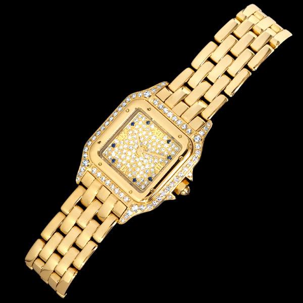 C5087【Cartier】カルティエ 純正ダイヤ・サファイア 最高級18金無垢セレブリティレディQZ 腕周り16.5cm 重さ70.0g ケース幅22.0mm_画像3