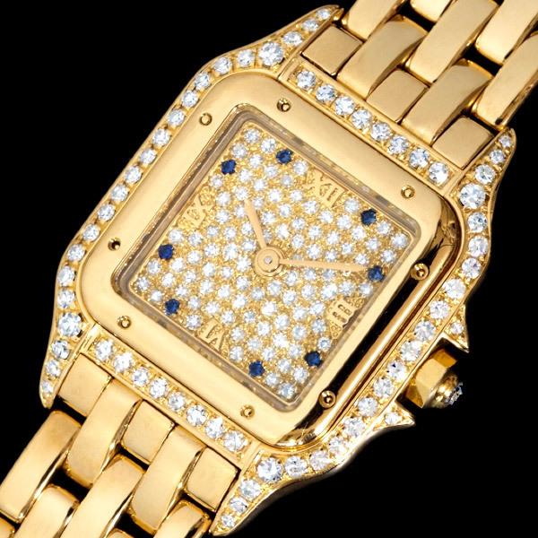 C5087【Cartier】カルティエ 純正ダイヤ・サファイア 最高級18金無垢セレブリティレディQZ 腕周り16.5cm 重さ70.0g ケース幅22.0mm_画像2