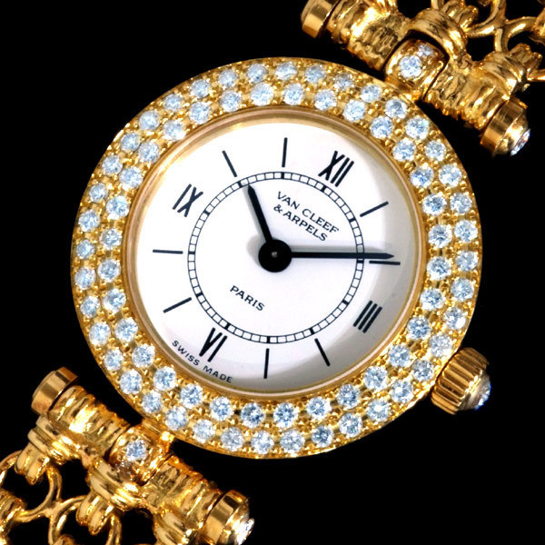 A8426【VAN CLEEF&ARPELS】ヴァンクリ 稀少ベルト 最高級18金無垢 純正ダイヤ 婦人QZ 腕周り16cm 重さ45.2g ケース幅20.8mm