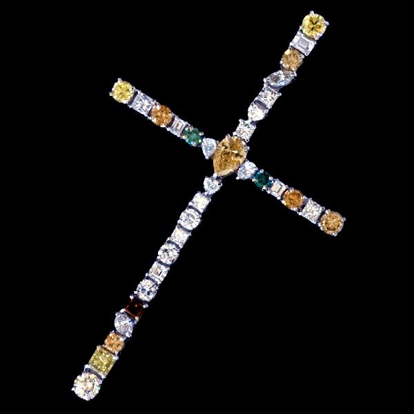 A2218【Cross】大粒上質ダイヤモンド7.04ct 最高級Pt900無垢ビックセレブリティペンダントトップ 重さ11.2g 幅82.3×49.2mm_画像1