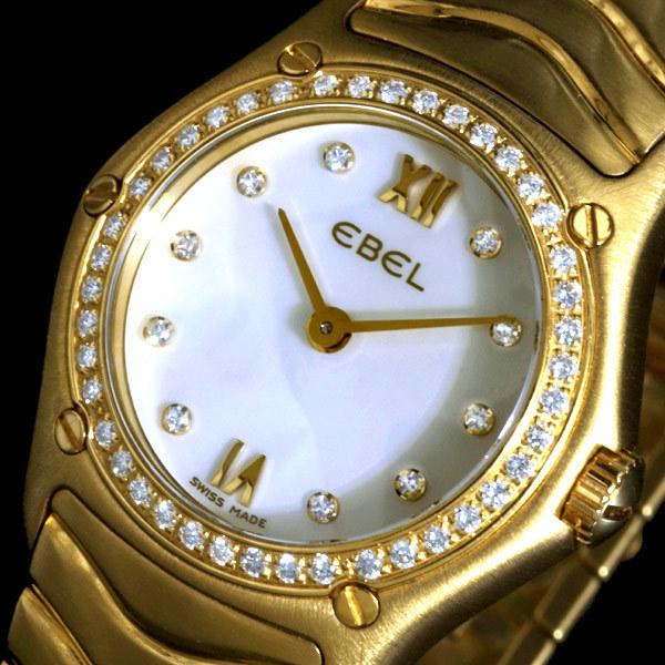 99640【EBEL】エベル 純正ダイヤモンド マザーオブパール 最高級18金無垢 婦人QZ 腕周り17.5cm 重さ89.0g ケース幅24.0mm
