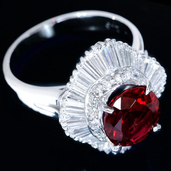 B8406 逸品レッドスピネル2.46ct 絶品ダイヤモンド0.96ct 最高級Pt900リング サイズ13 重さ9.6g 縦幅18.3mm_画像3