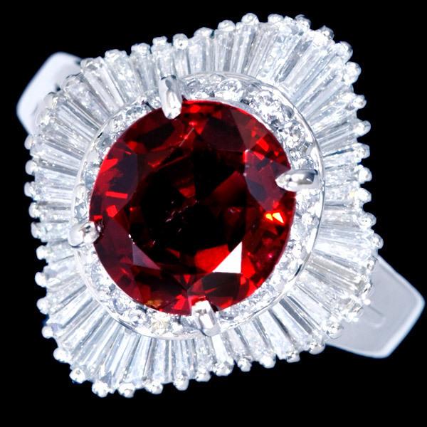 B8406 逸品レッドスピネル2.46ct 絶品ダイヤモンド0.96ct 最高級Pt900リング サイズ13 重さ9.6g 縦幅18.3mm_画像2