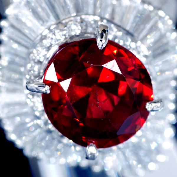 B8406 逸品レッドスピネル2.46ct 絶品ダイヤモンド0.96ct 最高級Pt900リング サイズ13 重さ9.6g 縦幅18.3mm_画像1