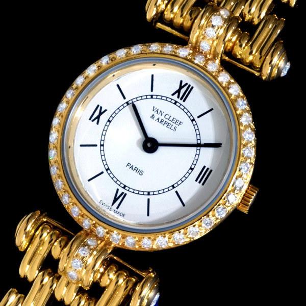 A2773【VAN CLEEF&ARPELS】ヴァンクリーフ&アペール 最高級18金無垢 純正D レディースQZ 腕周り16.5cm 重さ46.2g ケース幅22.0mm