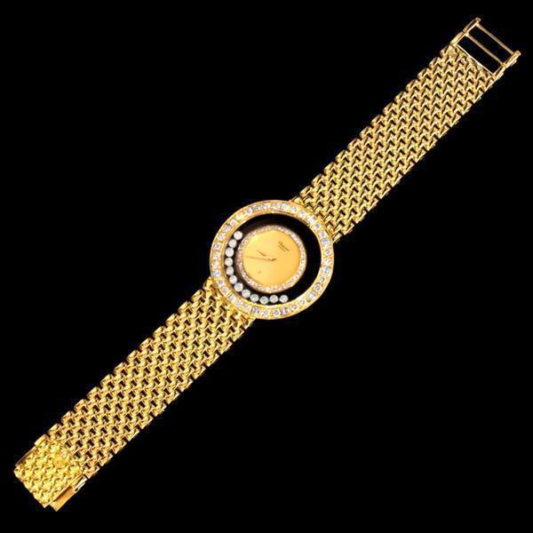 93045【Chopard】HAPPY DIAMONDS 純正ダイヤモンド 最高級18金無垢セレブリティメンズQZ_画像2