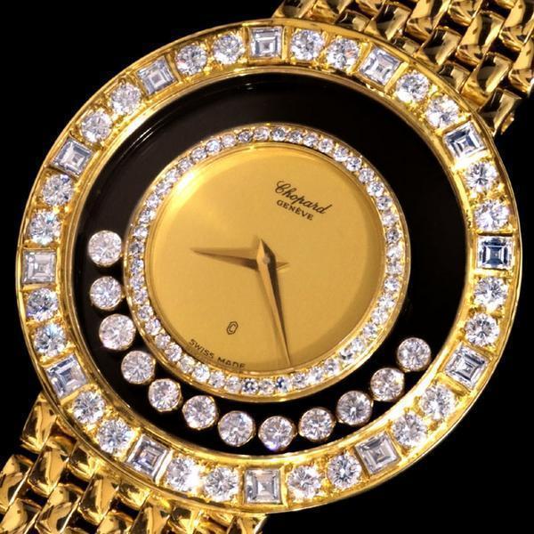 93045【Chopard】HAPPY DIAMONDS 純正ダイヤモンド 最高級18金無垢セレブリティメンズQZ_画像1