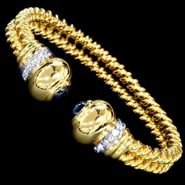 78704【Candame】Diamond Sapphire 18K Bangle Spain New 53.0g_画像2