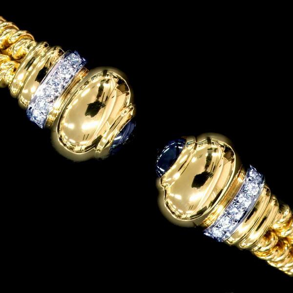 78704【Candame】カンダメ 天然絶品ダイヤモンド サファイア 最高級18金無垢セレブリティバングル スペイン製 新品_画像1