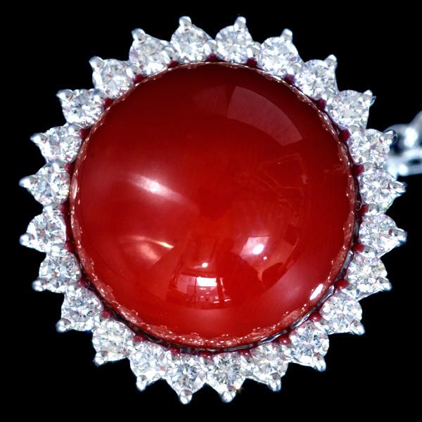 C4689 血赤珊瑚12.2mm 天然絶品ダイヤモンド0.44ct 最高級Pt900タイタック 総重量9.7g 幅16.9mm _画像1