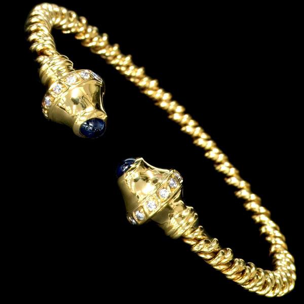 78775【Candame】Sapphire Diamond 18K Bangle SPAIN New 24.0g_画像2
