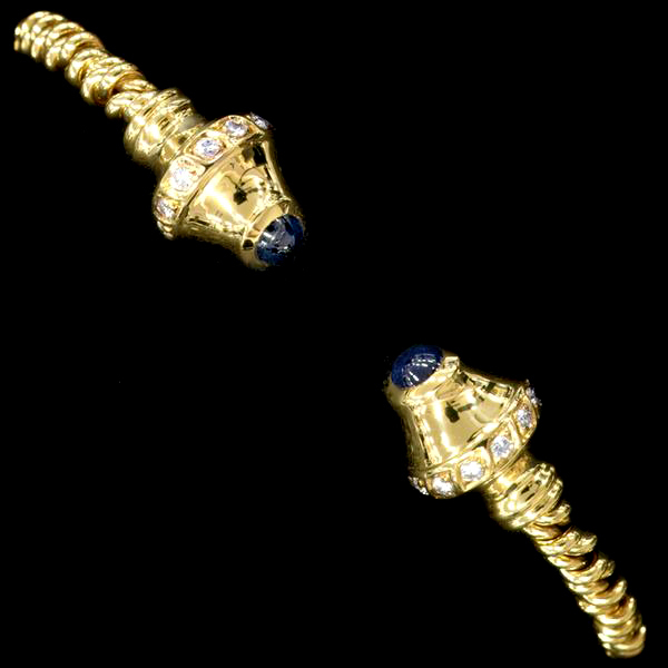 78775【Candame】Sapphire Diamond 18K Bangle SPAIN New 24.0g_画像1