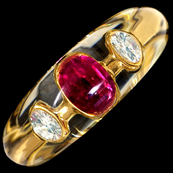 C4890【MORABITO】モラビト 大粒ルビー 大粒ダイヤモンド 最高級18金無垢フランス製リング サイズ14 重さ4.5g 縦幅8.5mm_画像2