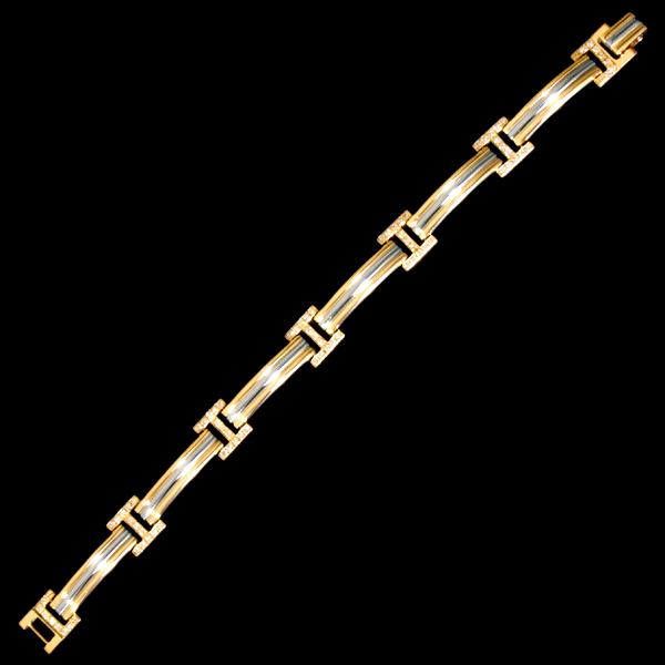 A8150【LEONARD】レオナール 絶品ダイヤモンド0.65ct 最高級18金無垢ブレスレット 腕周り18cm 重さ28.5g 幅9.7mm_画像2
