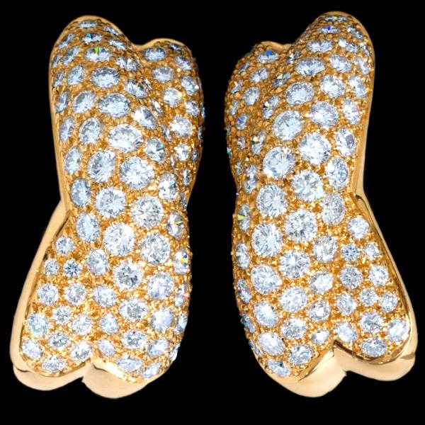 B7008【Cartier】カルティエ 絶品ダイヤモンド 最高級18金無垢セレブリティイヤリング 重さ20.6g 幅26.0×11.5mm_画像2