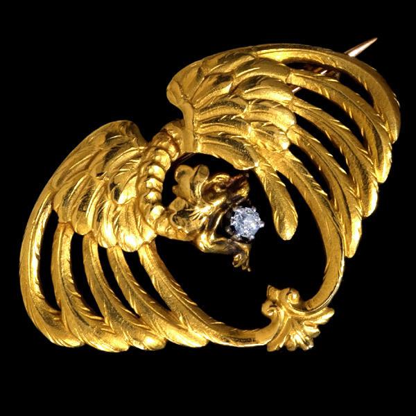 A3023【アンティーク】オールドカット上質ダイヤ アンティーク81%(針はK18)ゴールド無垢キメラブローチ 重さ9.3g 幅34.3×24.2mm