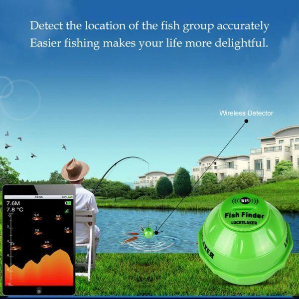 ■ラッキーレイカー125KHzスマートソナーワイヤレスWi-Fiフィッシュファインダー IOSのための50Mの深さの魚のファインダー魚の検出器_画像1
