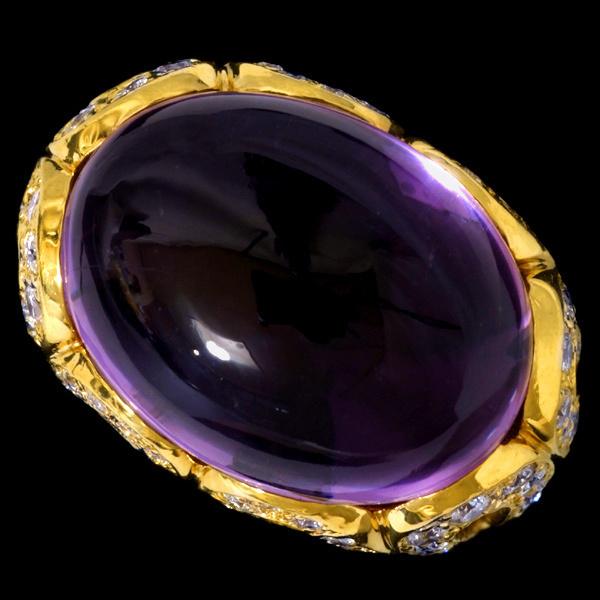 98720 大粒紫晶24.50克拉 絶品D2.00克拉 18K 戒指 14g