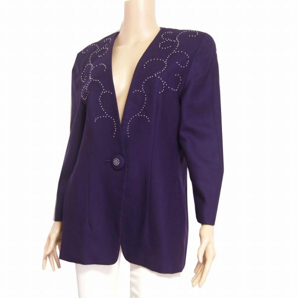 M美品/伊太利屋 GK お洒落ウールジャケット 表記9号(38号/M相当) 紫 ビーズ ノーカラー クラシカルデザイン 秋冬向け アウター レディース_繊細ビーズが優雅に輝く美形ジャケットです