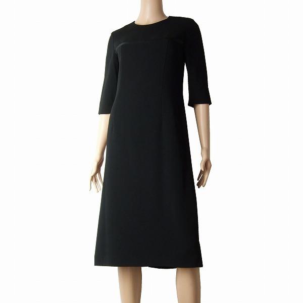 A新品同様/SOIR BENIR 東京ソワール 上品なブラックフォーマルワンピース 表記9号(Mサイズ相当) 黒/ブラック 春夏 冠婚葬祭 レディース_シルエットの美しい上品なワンピースです