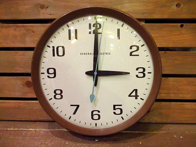 ビンテージ60's★GENERAL ELECTRIC スクールクロック茶★50's70'sジェネラルエレクトリック壁掛け時計家具インテリアウォールクロックUSA_画像1