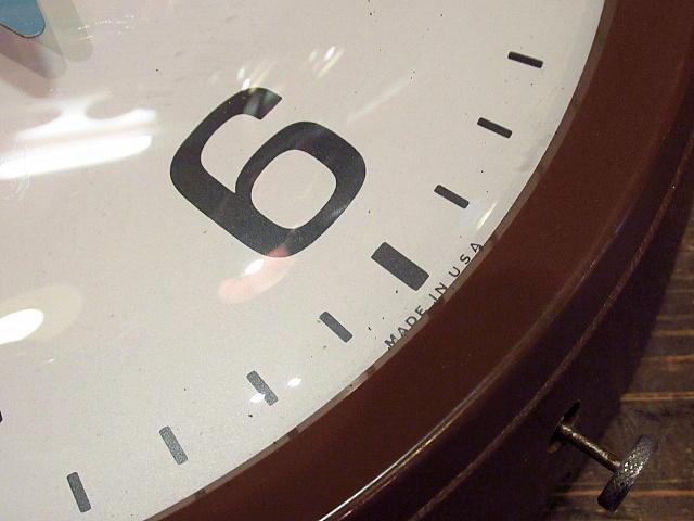 ビンテージ60's★GENERAL ELECTRIC スクールクロック茶★50's70'sジェネラルエレクトリック壁掛け時計家具インテリアウォールクロックUSA_画像6