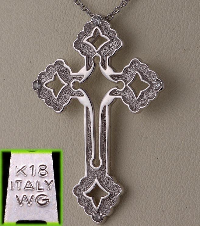 ITALY-K18WG製ダイア4石のお洒落なロザリオネックレス・40cm・3.6g/IP-5231_画像6