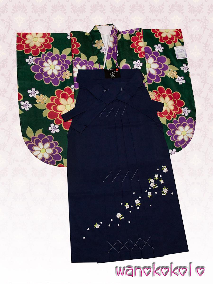 【和の志】二尺袖・袴セット◇小学校卒業式に◇緑系・菊・桜の花柄◇NSYD_1_画像1