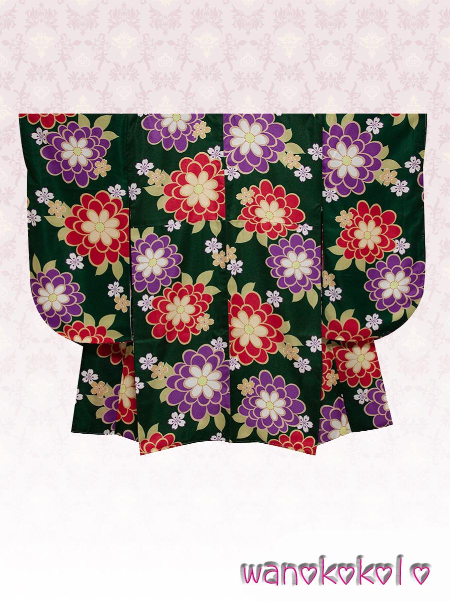 【和の志】二尺袖・袴セット◇小学校卒業式に◇緑系・菊・桜の花柄◇NSYD_1_画像3