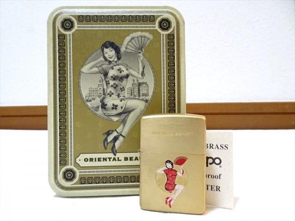 未使用!ジッポー オイルライター オリエンタルビューティー チャイナ服 中国 ゴールド ブリキ缶付き ウィンドウプルーフ