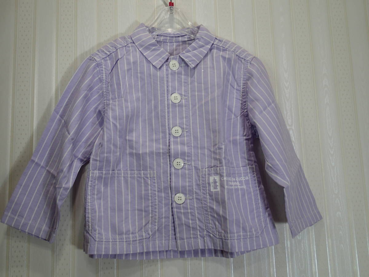 ★ Zucca / zucca 100㎝ ★ (white stripe in lavender color background) boy for a long-sleeved shirt / pockets s988