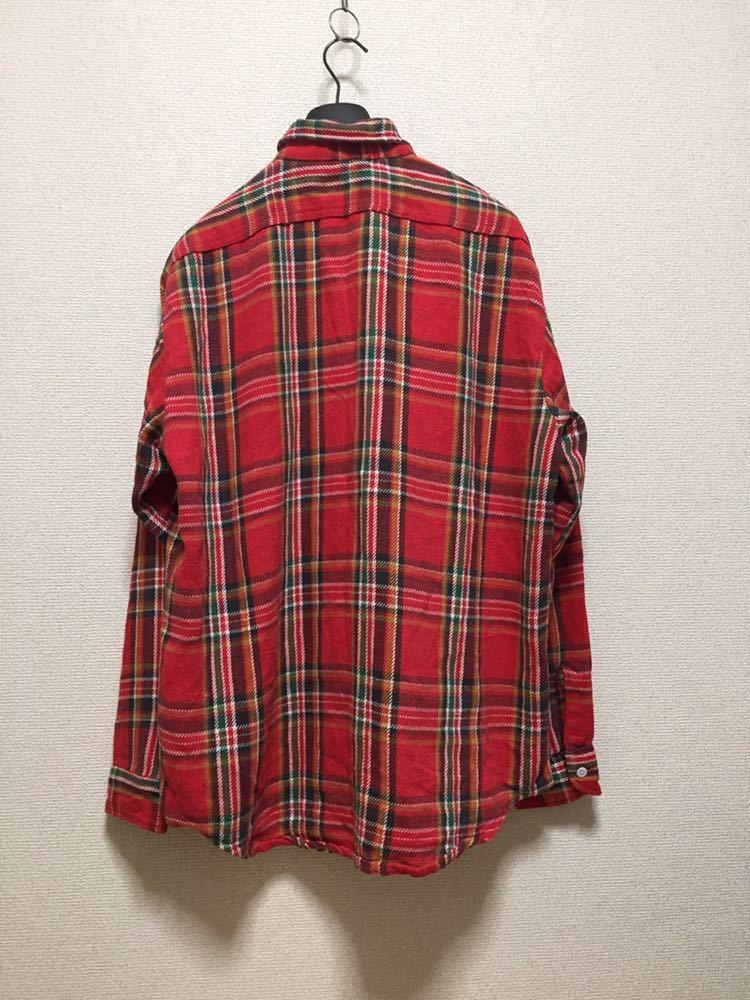 USAヴィンテージ 70's BIGMAC JCPenney ビッグマック ヘビーネルシャツ チェックシャツ 長袖シャツ TALL L 赤_画像2