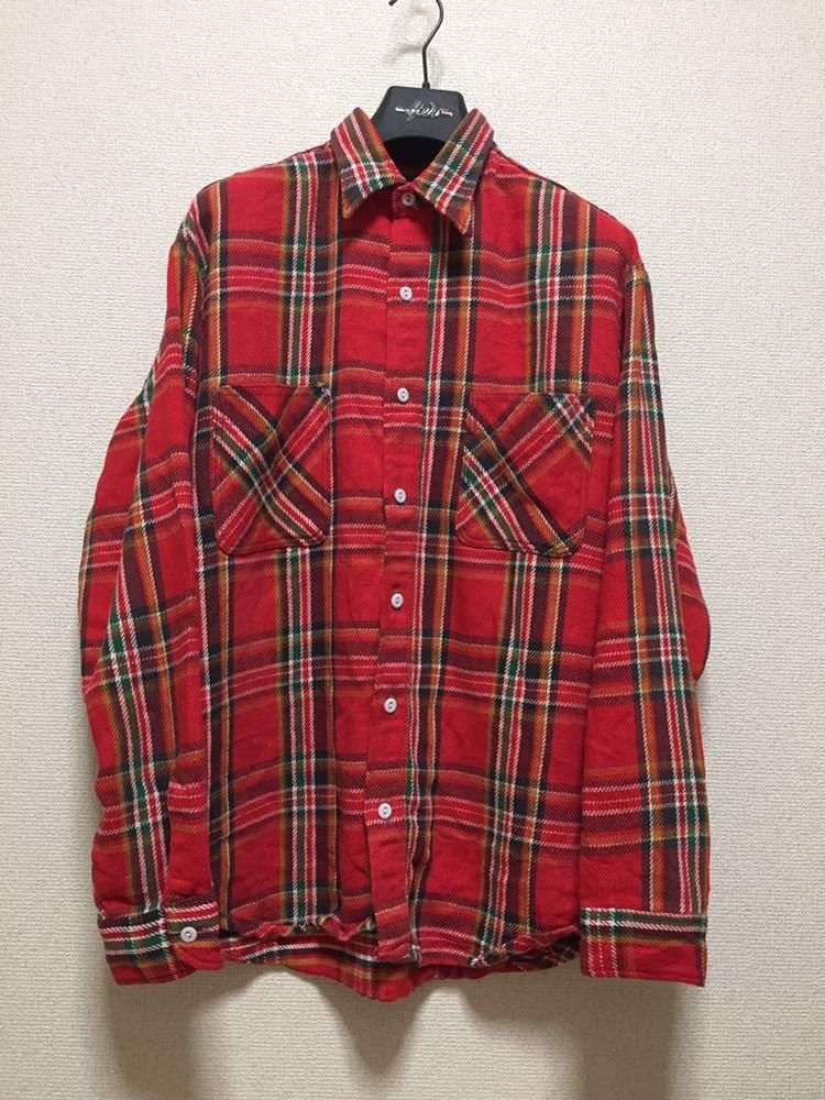 USAヴィンテージ 70's BIGMAC JCPenney ビッグマック ヘビーネルシャツ チェックシャツ 長袖シャツ TALL L 赤_画像1