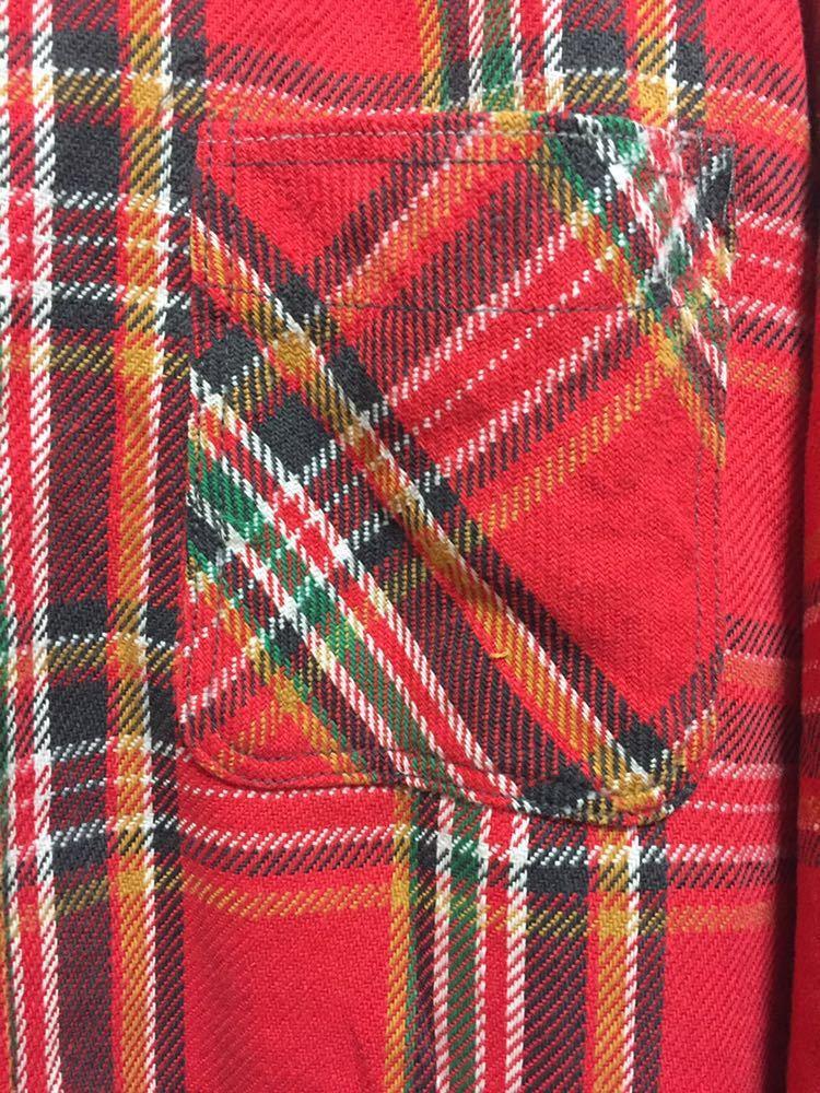 USAヴィンテージ 70's BIGMAC JCPenney ビッグマック ヘビーネルシャツ チェックシャツ 長袖シャツ TALL L 赤_画像5