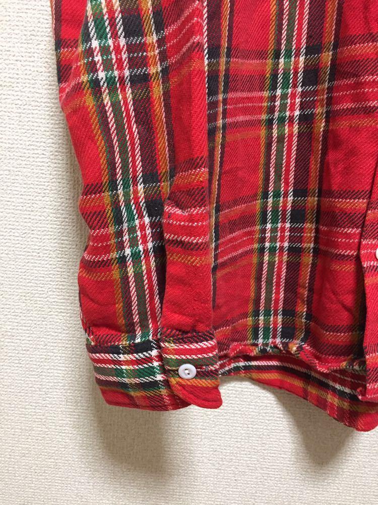 USAヴィンテージ 70's BIGMAC JCPenney ビッグマック ヘビーネルシャツ チェックシャツ 長袖シャツ TALL L 赤_画像6