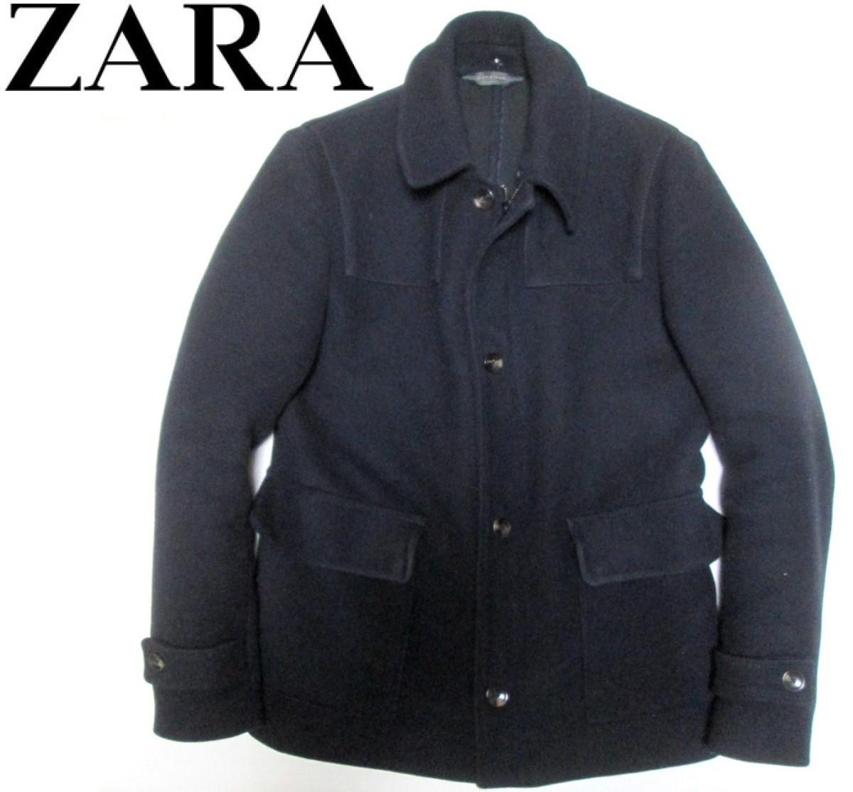 ZARA MAN ザラ マン メンズ メルトン ボタン ジップ シングルコート_画像1