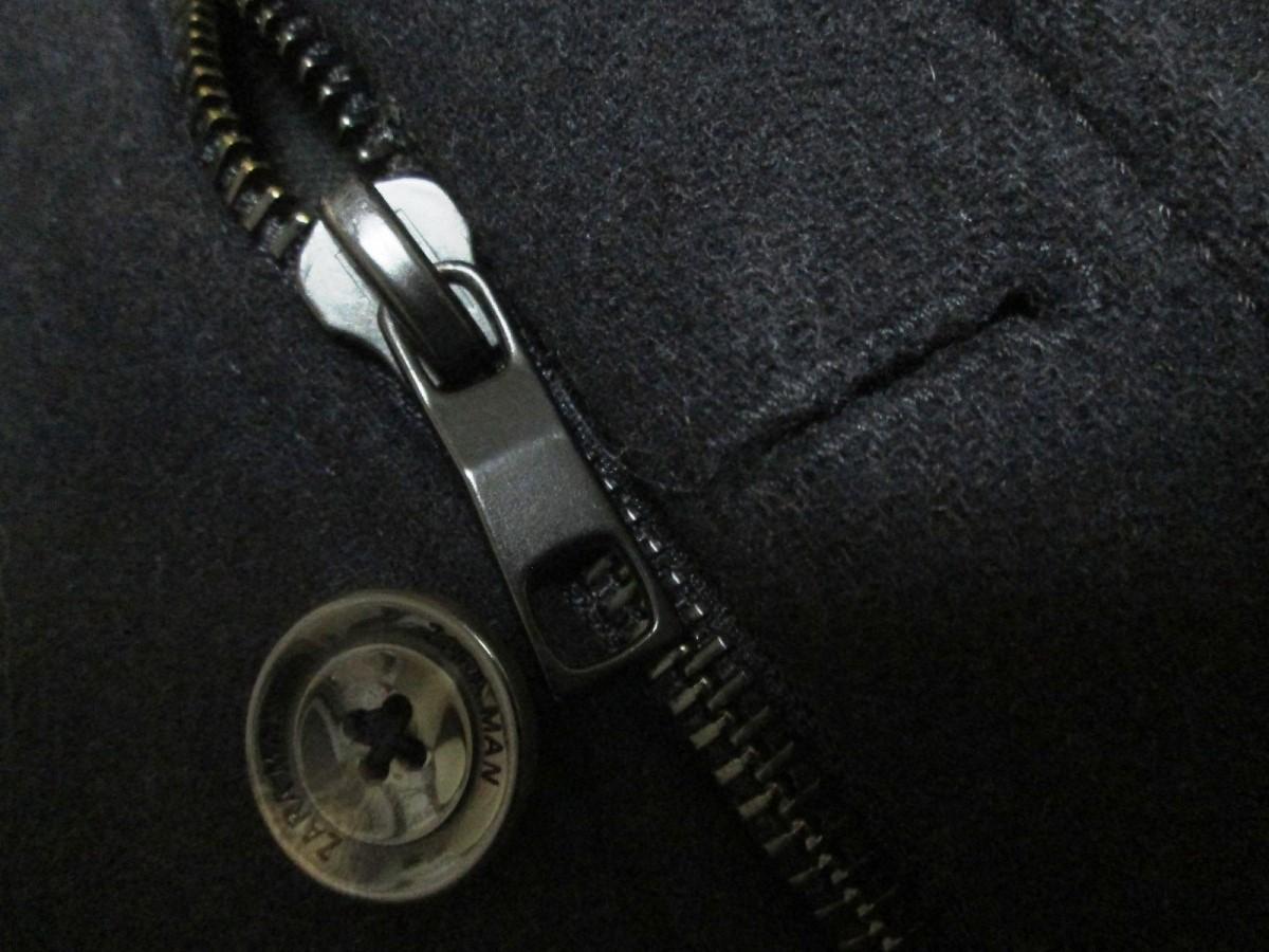 ZARA MAN ザラ マン メンズ メルトン ボタン ジップ シングルコート_画像4