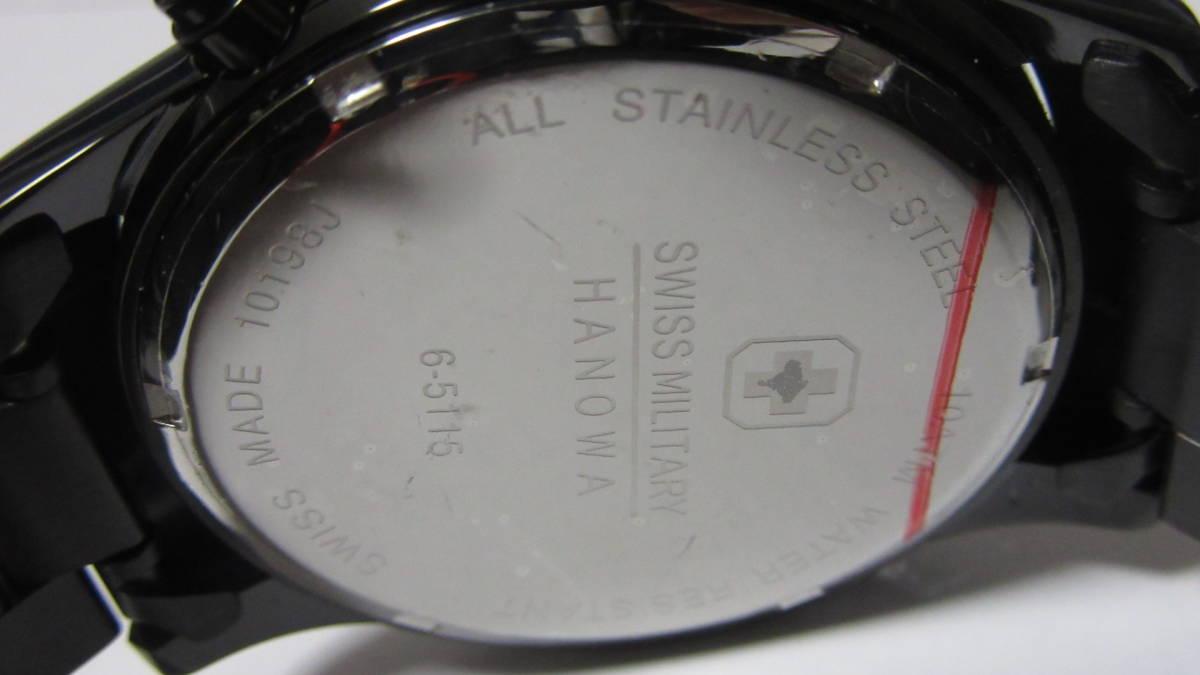 スイスミリタリー SWISS MILITARY クロノグラフ ブラック 展示未使用品 箱無_画像8
