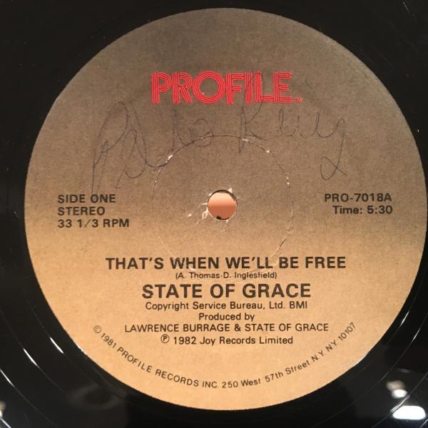 ☆State Of Grace/That's When We'll Be Free☆ITALO SYNTH POP!_画像1